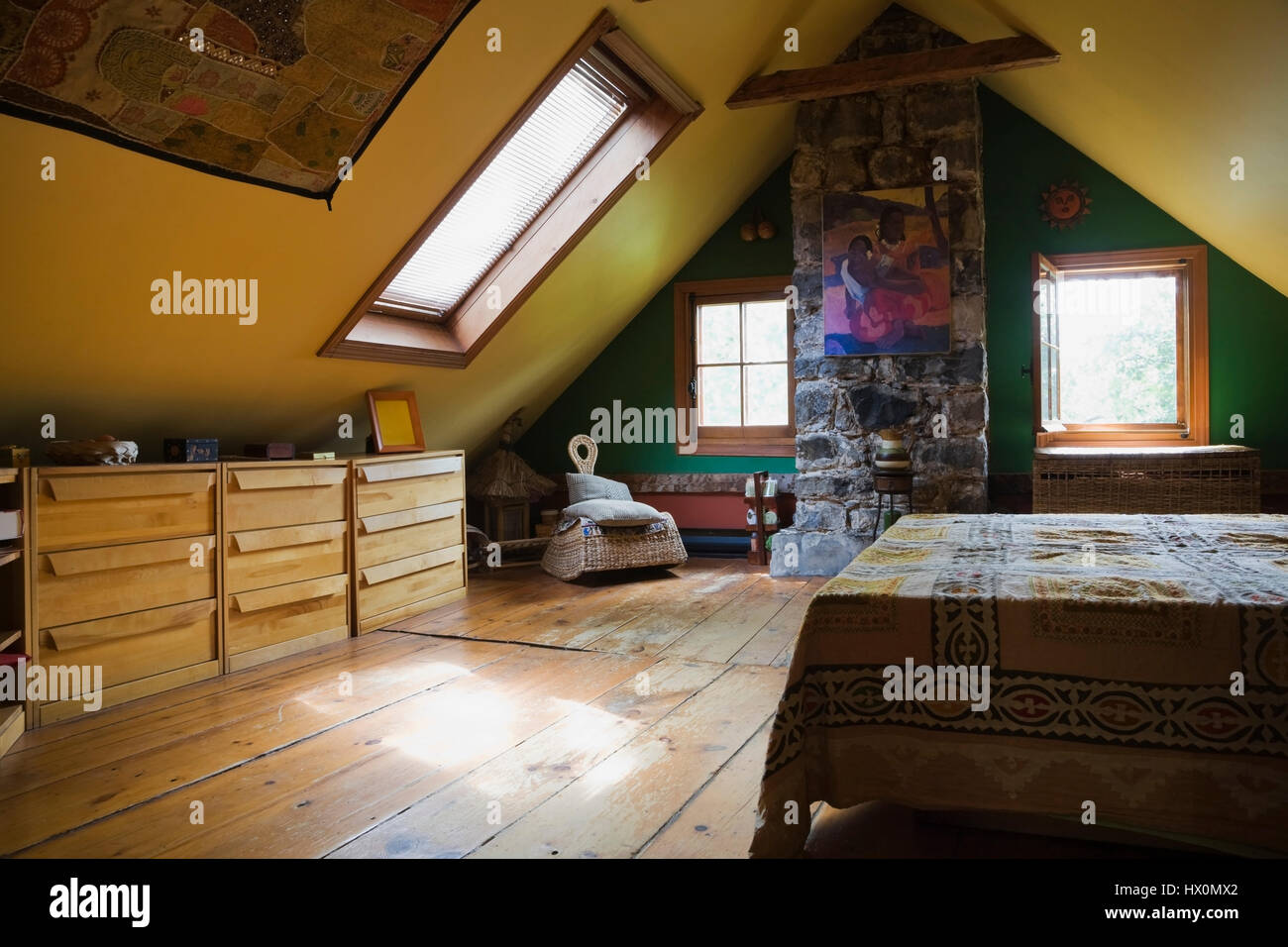 yellow rustic master bedroom with bed and furnishings in 1840