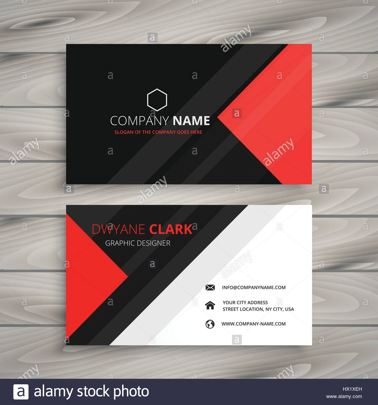 red black corporate business card template vector design ...