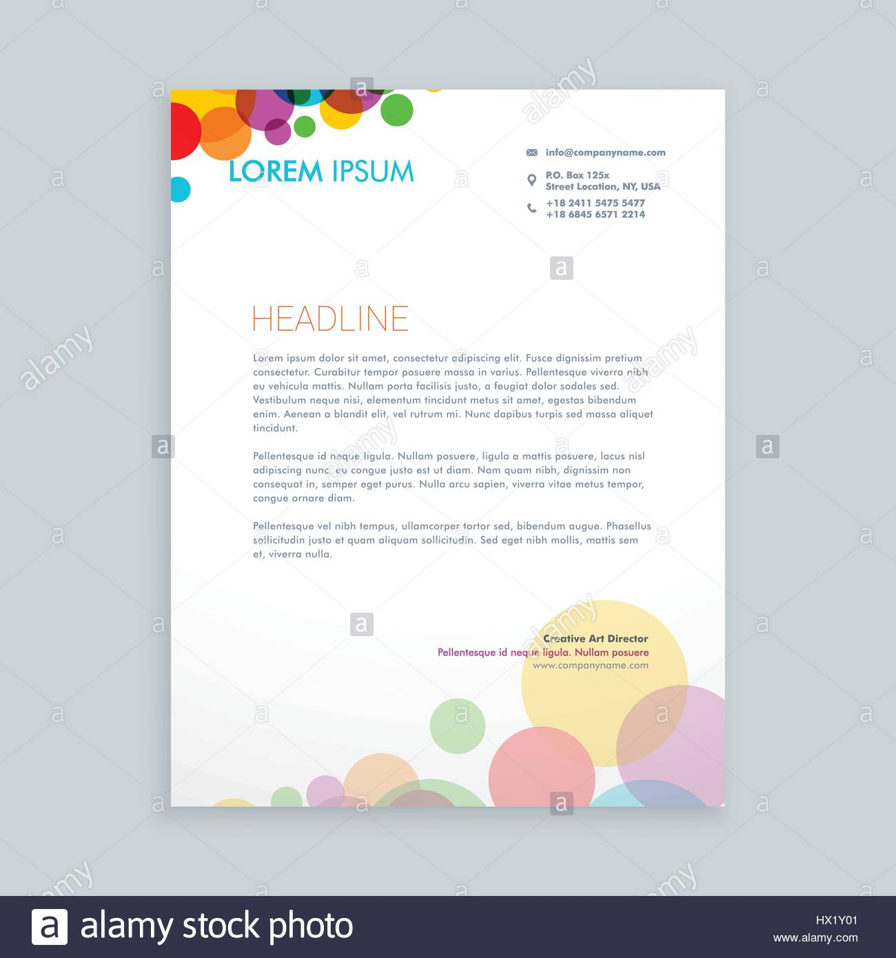 Creative colorful circles letterhead template vector design stock creative colorful circles letterhead template vector design illustration pronofoot35fo Images