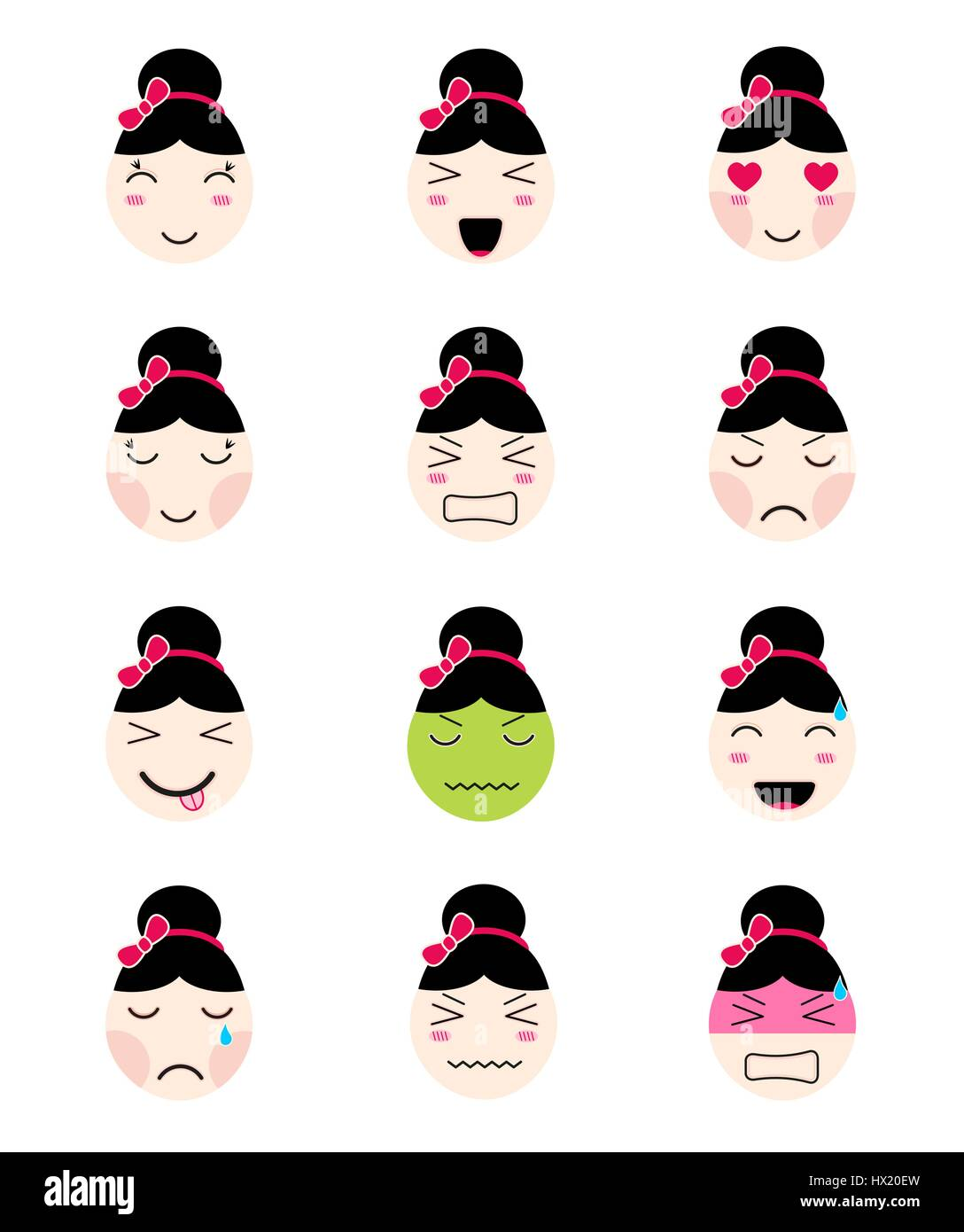 cute emoji collection kawaii asian girl face different moods