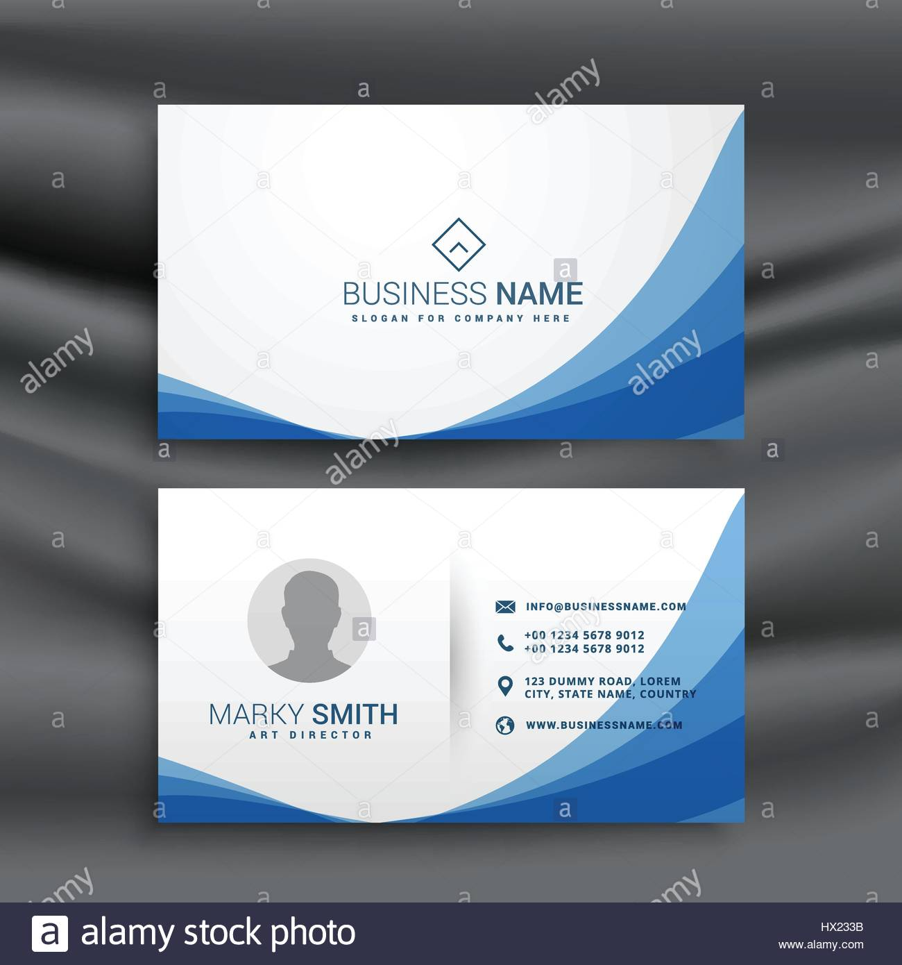 blue wave simple business card design template Stock Vector Art ...