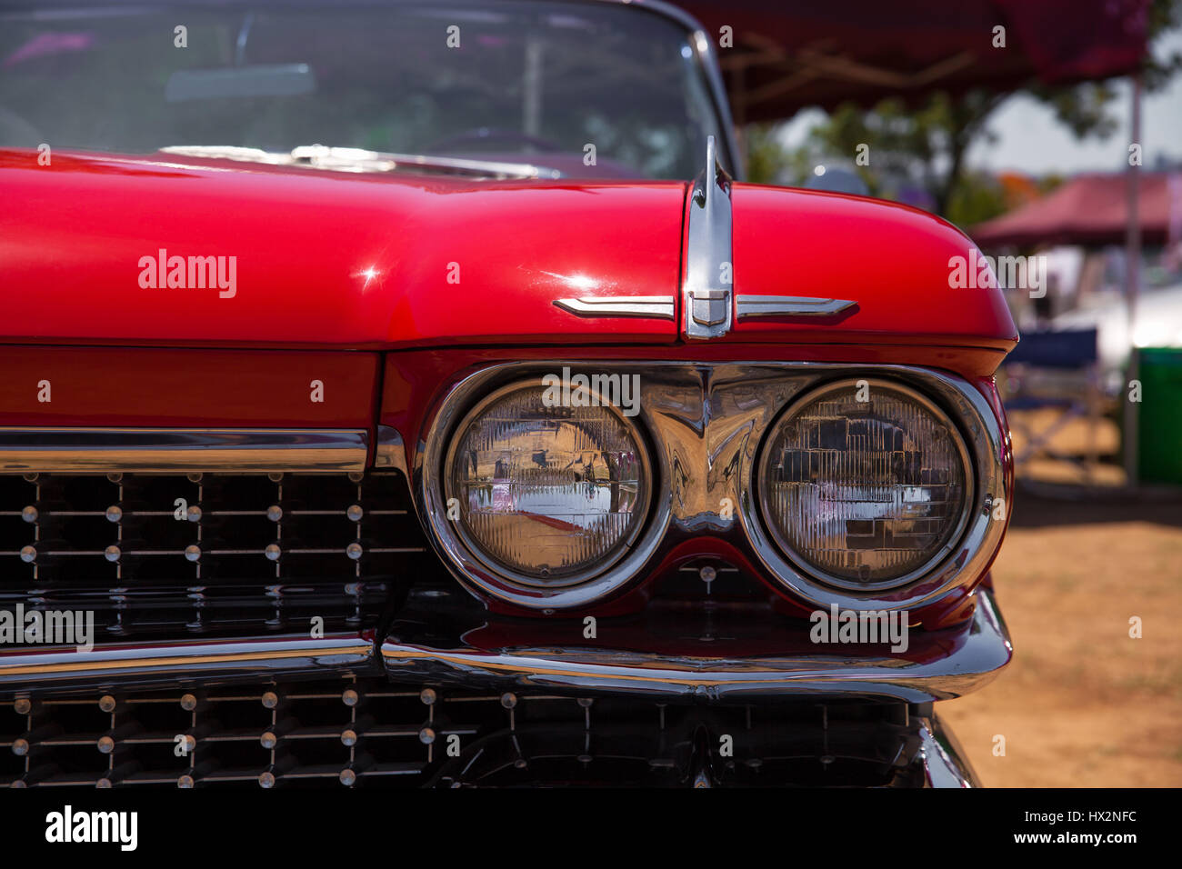 1959 cadillac convertible headlight and front view stock image