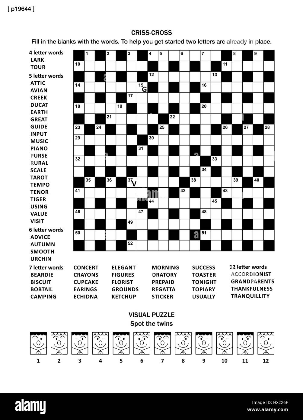 Puzzle page with criss cross word game and whimsical faces visual puzzle page with criss cross word game and whimsical faces visual riddle black and white a4 or letter sized answers are on separate file aljukfo Gallery