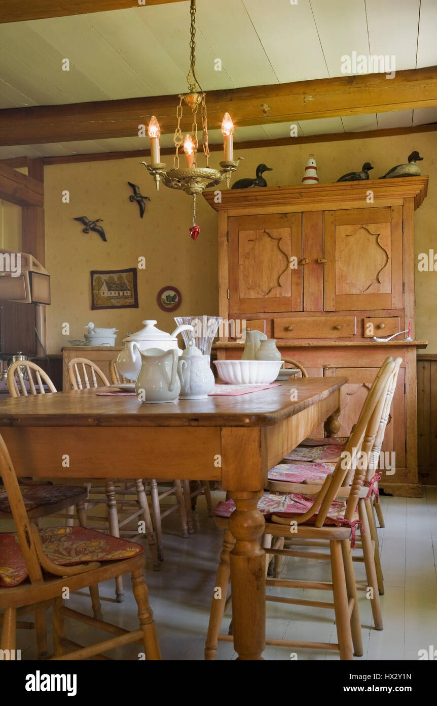 Antique Table Chairs And Dresser In Dining Room Of 1741 Old House Interior