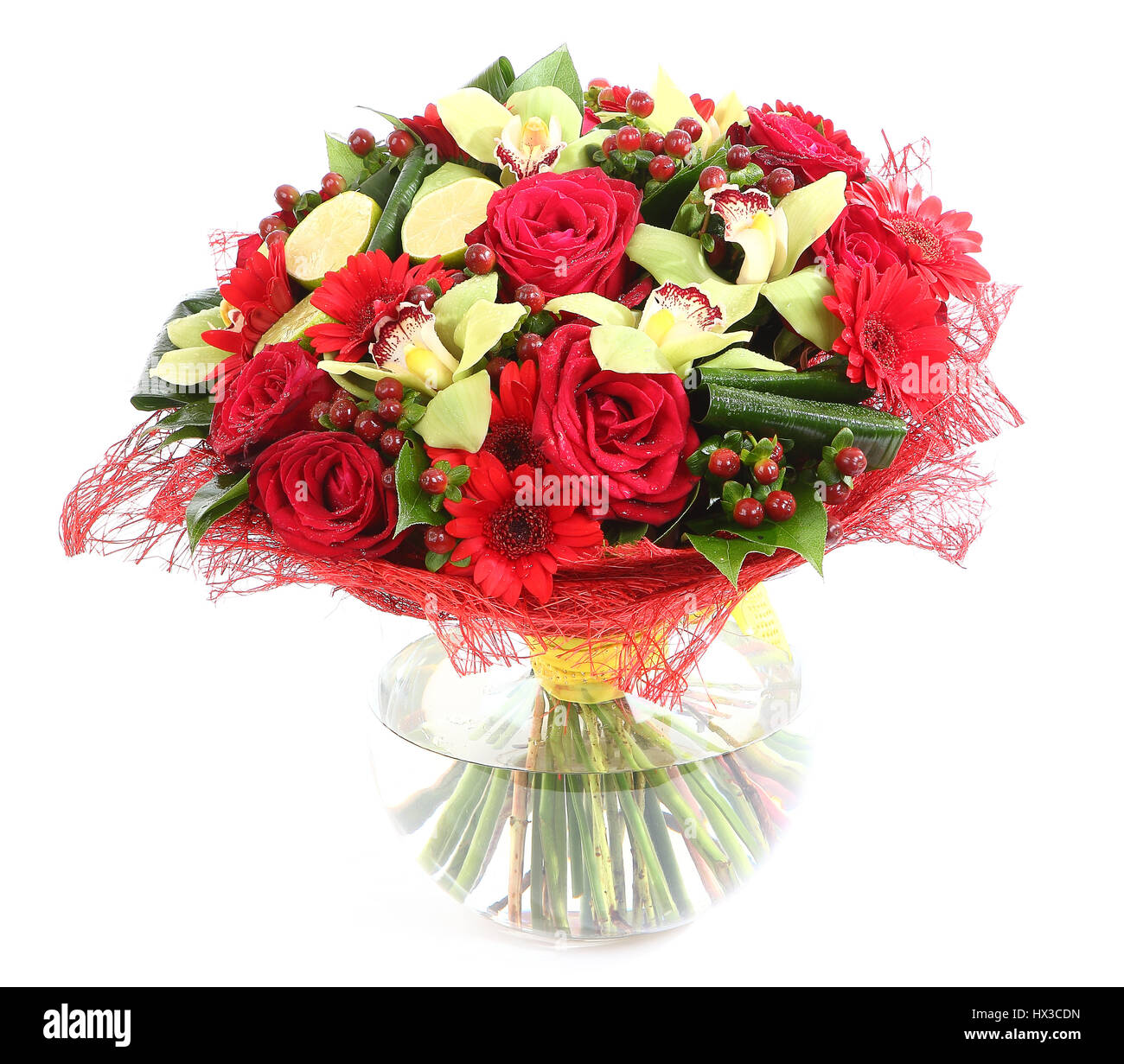 Flower arrangement in glass transparent vase red roses orchids flower arrangement in glass transparent vase red roses orchids red gerbera daisies isolated on white background floristic composition design a reviewsmspy