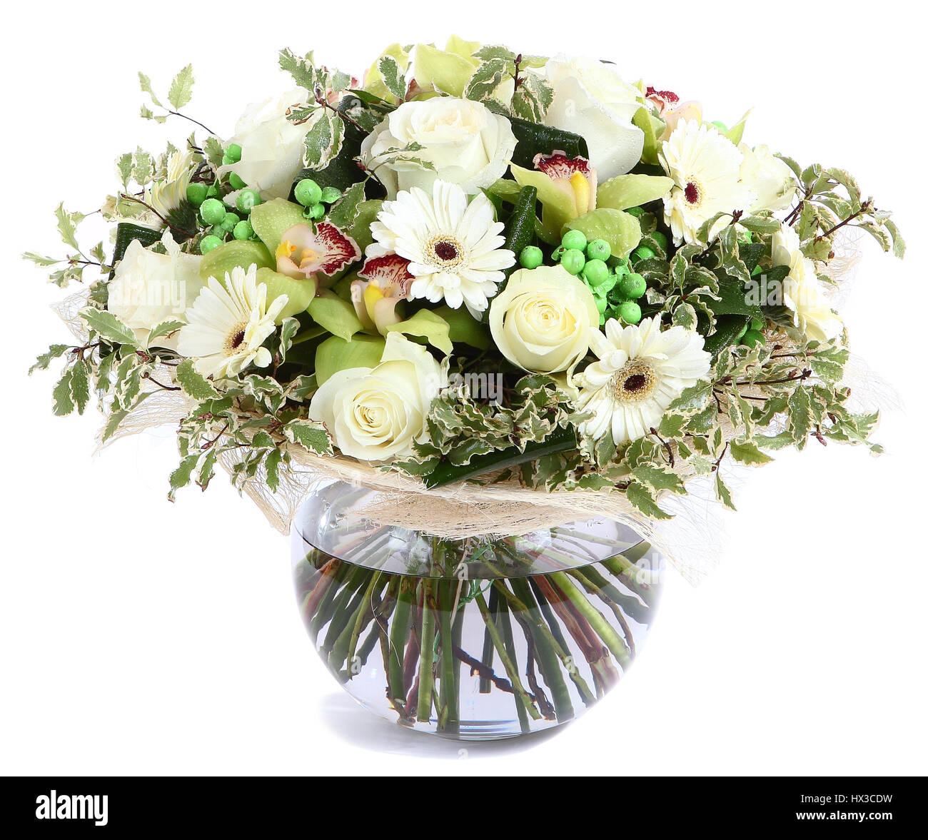 Flower arrangement in glass transparent vase white roses flower arrangement in glass transparent vase white roses orchids white gerbera daisies green peas isolated on white background floristic compos reviewsmspy