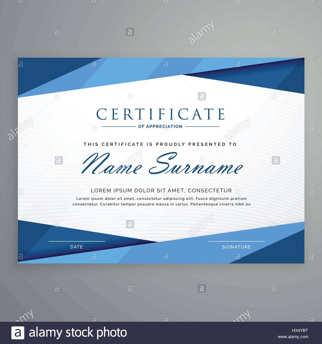 Modern blue triangle certificate template stock vector art modern blue triangle certificate template xflitez Images