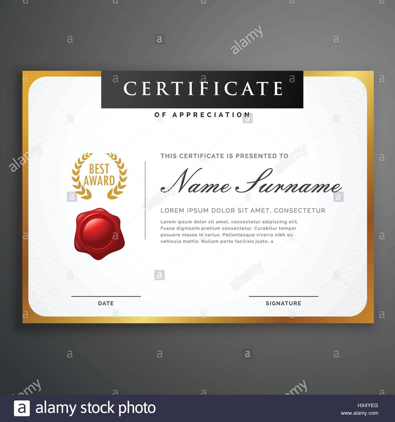 elegant clean certificate template layout design with golden – Certificate Layout