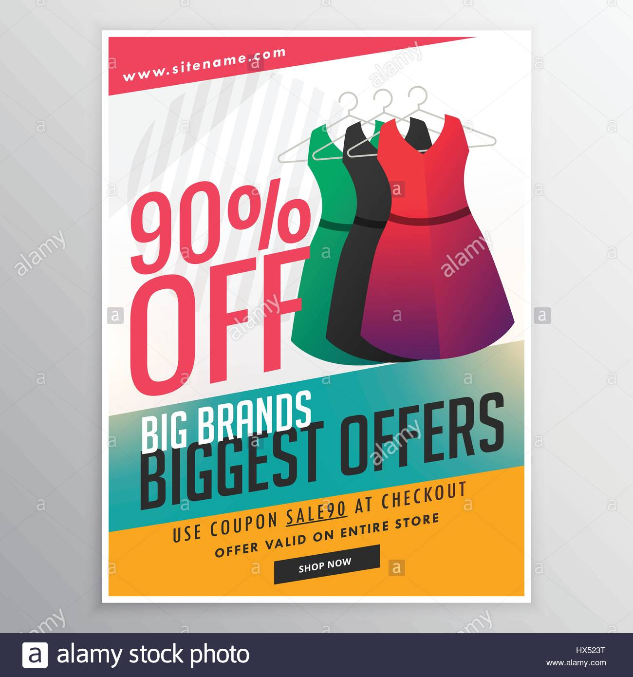 Fashion Sale Discount Promotional Brochure Flyer Template With Dress  Illustration And Colorful Shapes  Coupon Flyer Template
