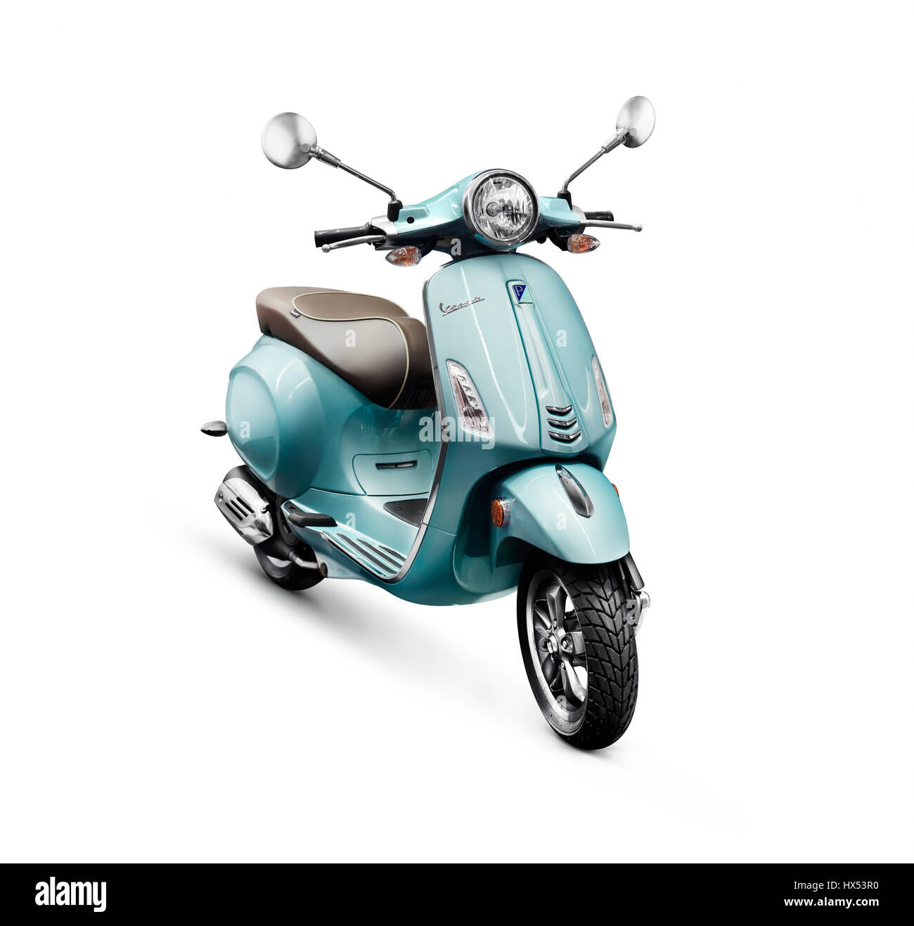 blue 2017 motor scooter vespa manufacturedpiaggio isolated on