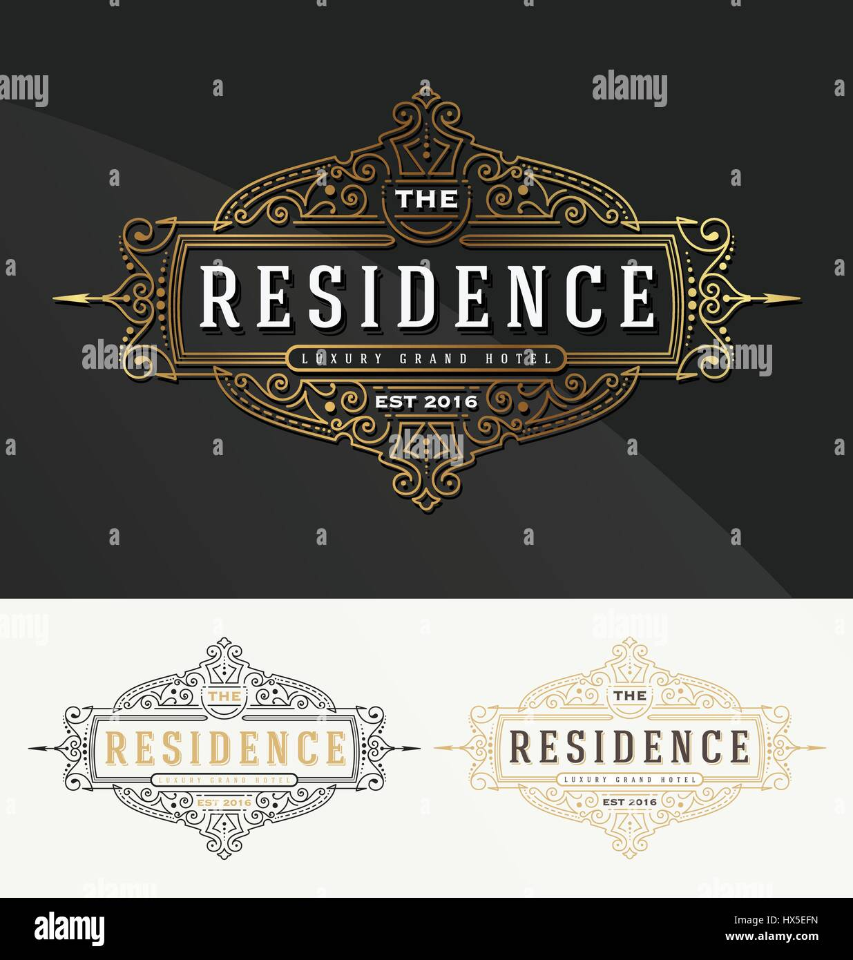 Vintage flourish frame logo template for Residence, Restaurant ...