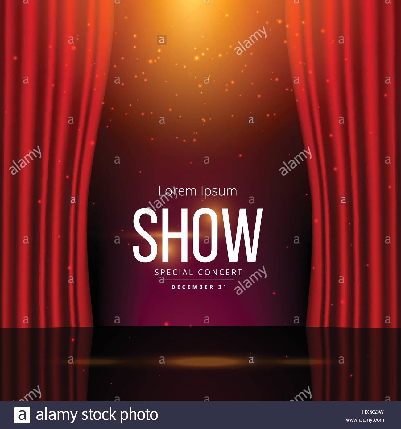 Red stage curtain with lights - Stock Vector Stage With Red Open Curtains