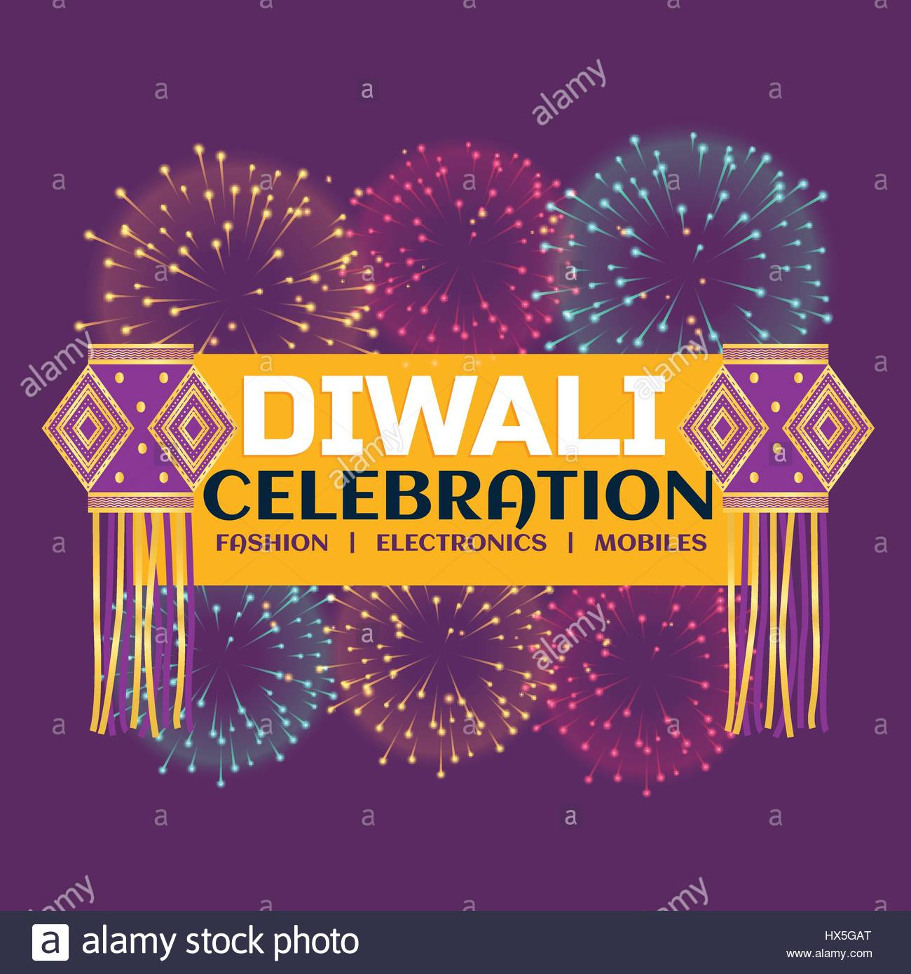 Diwali Festival Celebration Banner With Fireworks And Hanging Lamps On Purple Background