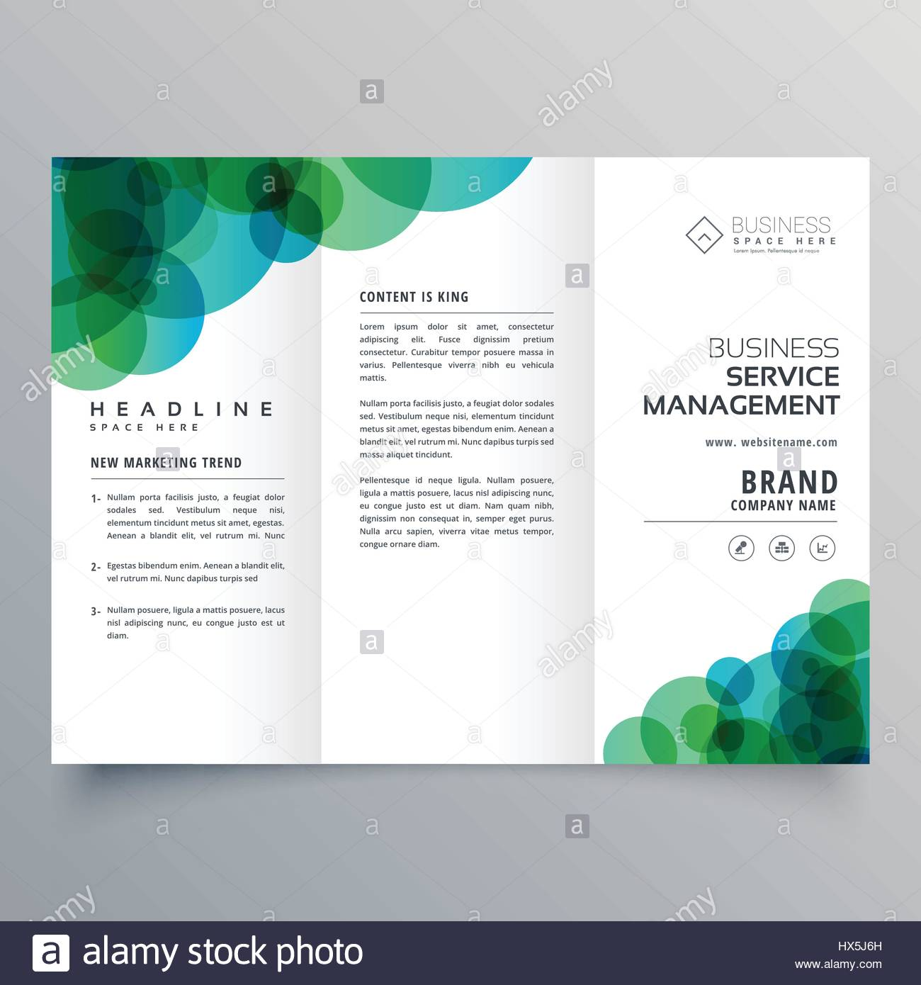 Modern Abstract Green And Blue Circles Business Trifold Brochure - Business tri fold brochure templates
