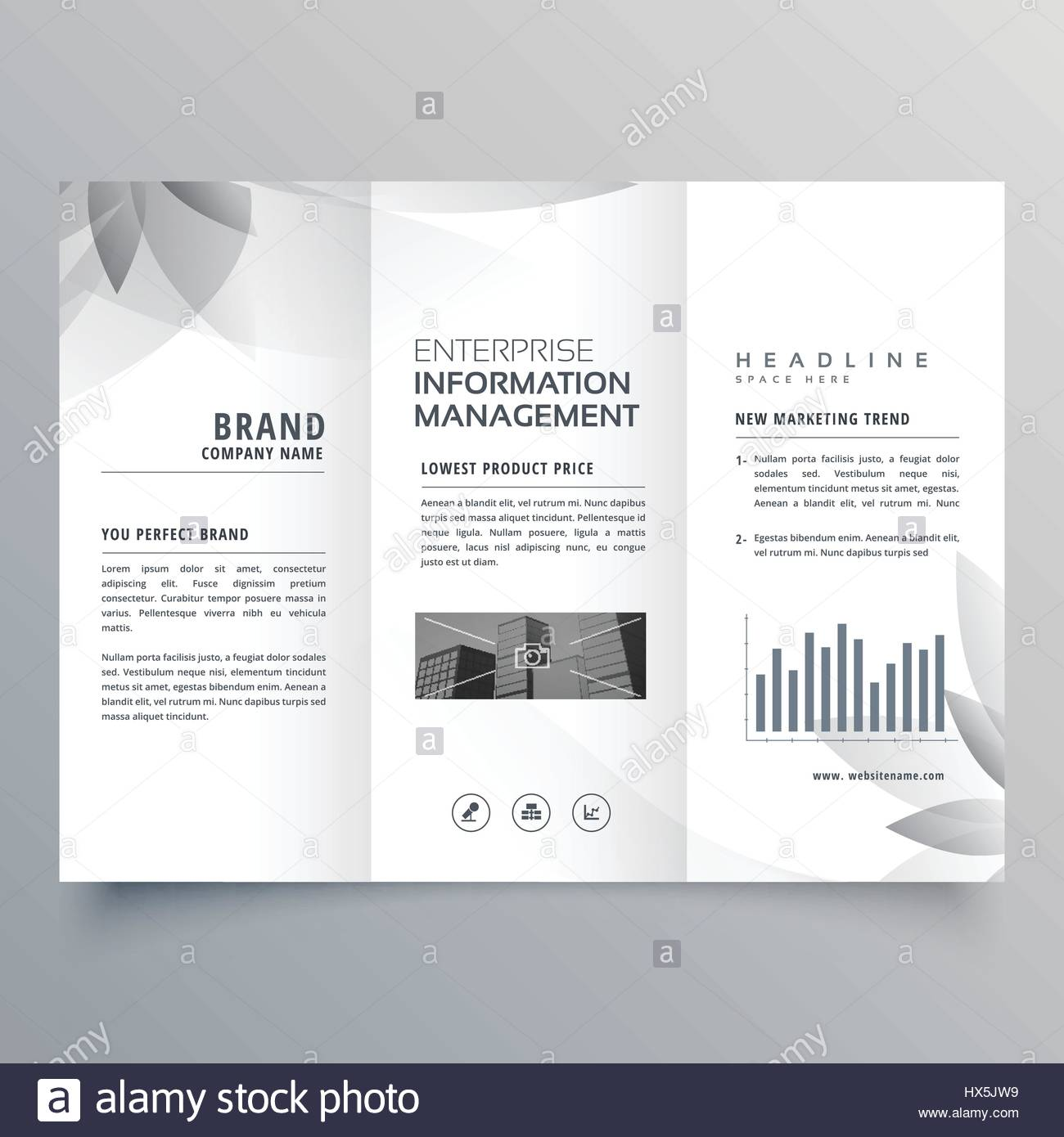 Creative Trifold Brochure Template With Abstract Gray Shape Stock - Hp tri fold brochure template