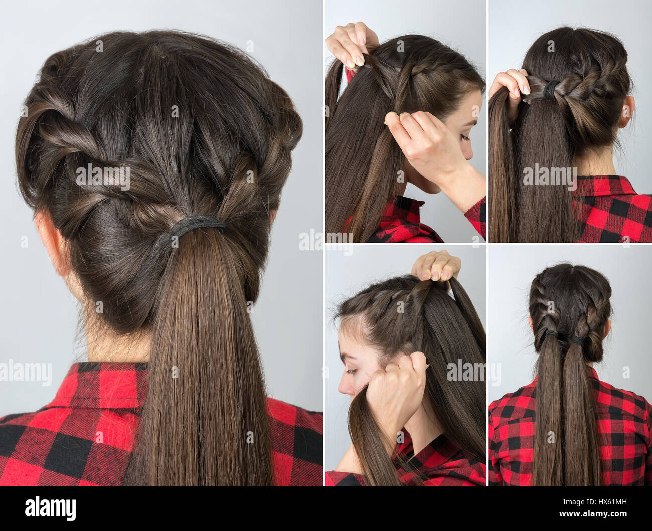 simple twisted hairstyle tutorial step by step. Easy hairstyle for Stock Photo, Royalty Free ...
