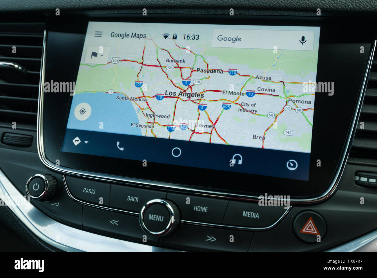 Android Auto Maps Navigation Car Vehicle Interface Showing Los - Los angeles navigation map