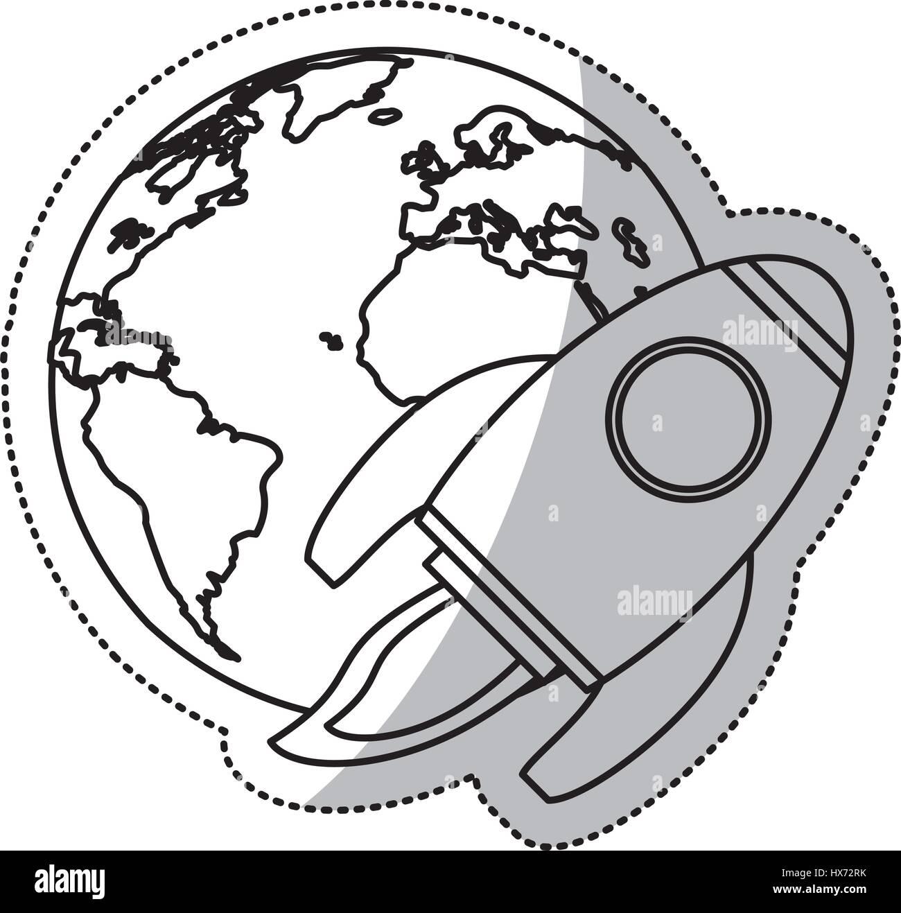 earth world rocket flying space outline stock vector art