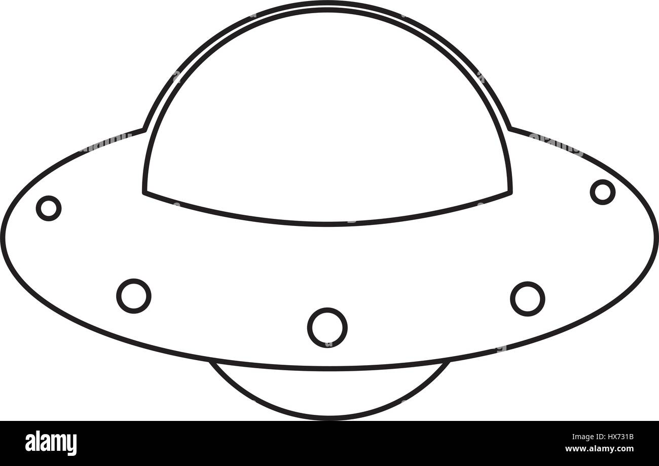 UFO Spaceship Fly Image Outline Stock Vector Art
