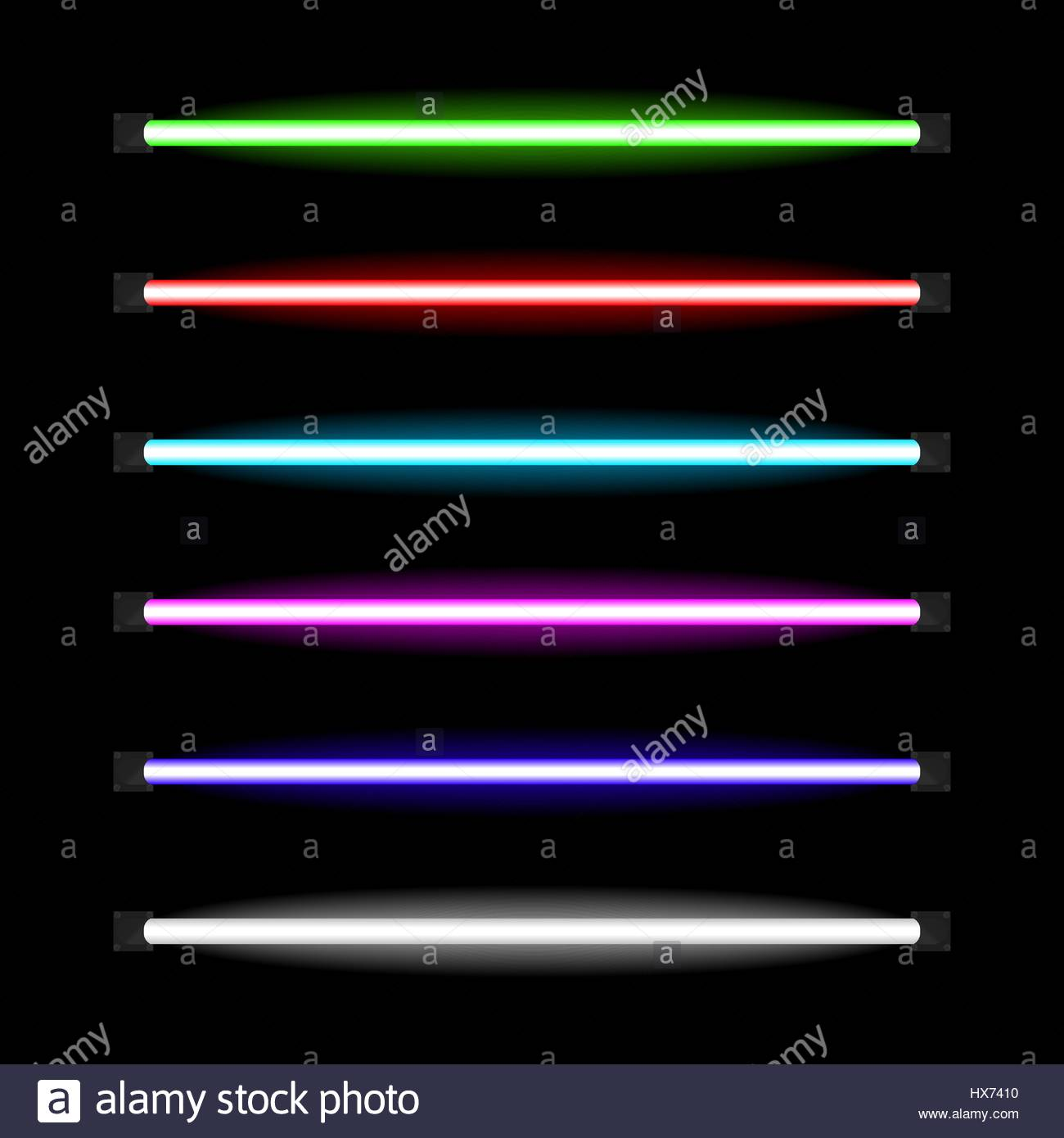 Neon Lamps Of Different Colors Glowing In The Darkness