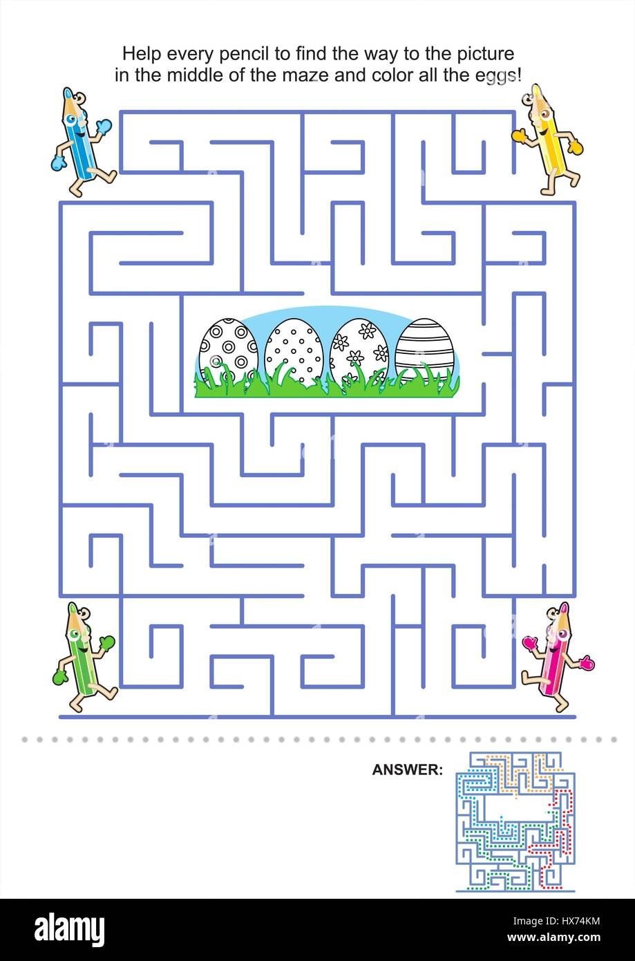 easter maze game and coloring activity page for kids help the