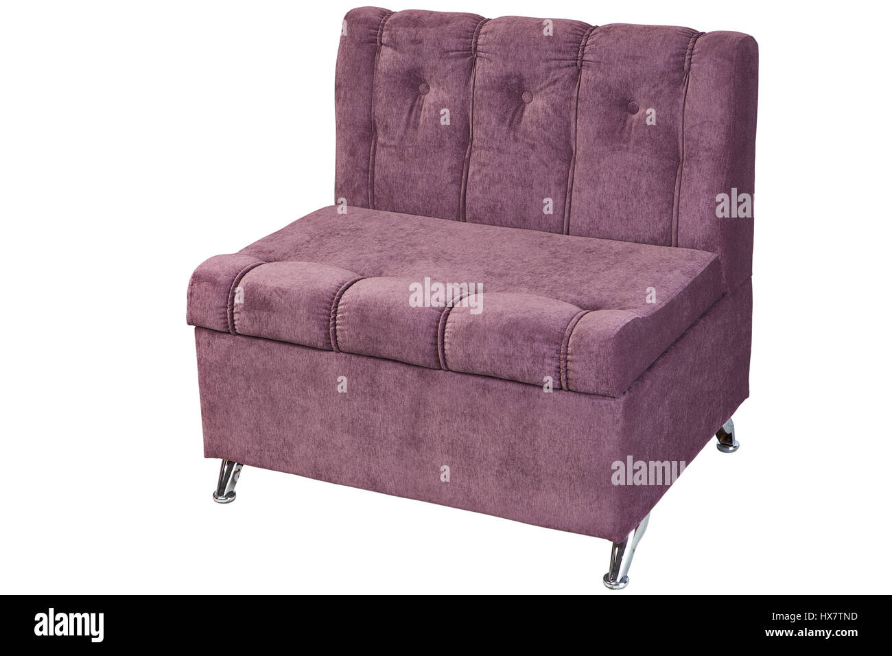 Folding bed chair - Folding Bed Chair Upholstered Light Purple Fabric Isolated On White Background With Clipping Path