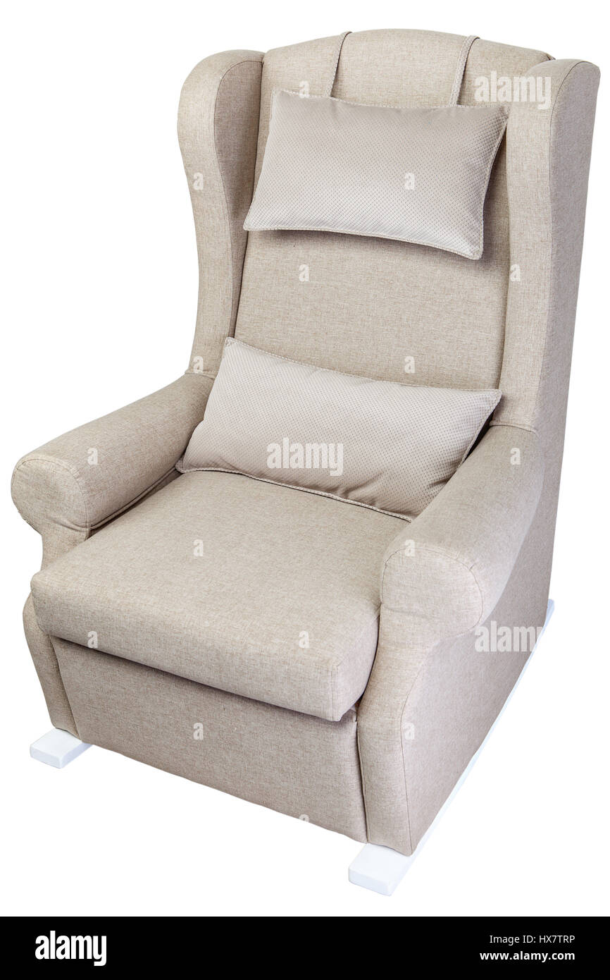 Single Linen Rocking Chair Upholstered Fabric, Isolated On White Background  With Clipping Path