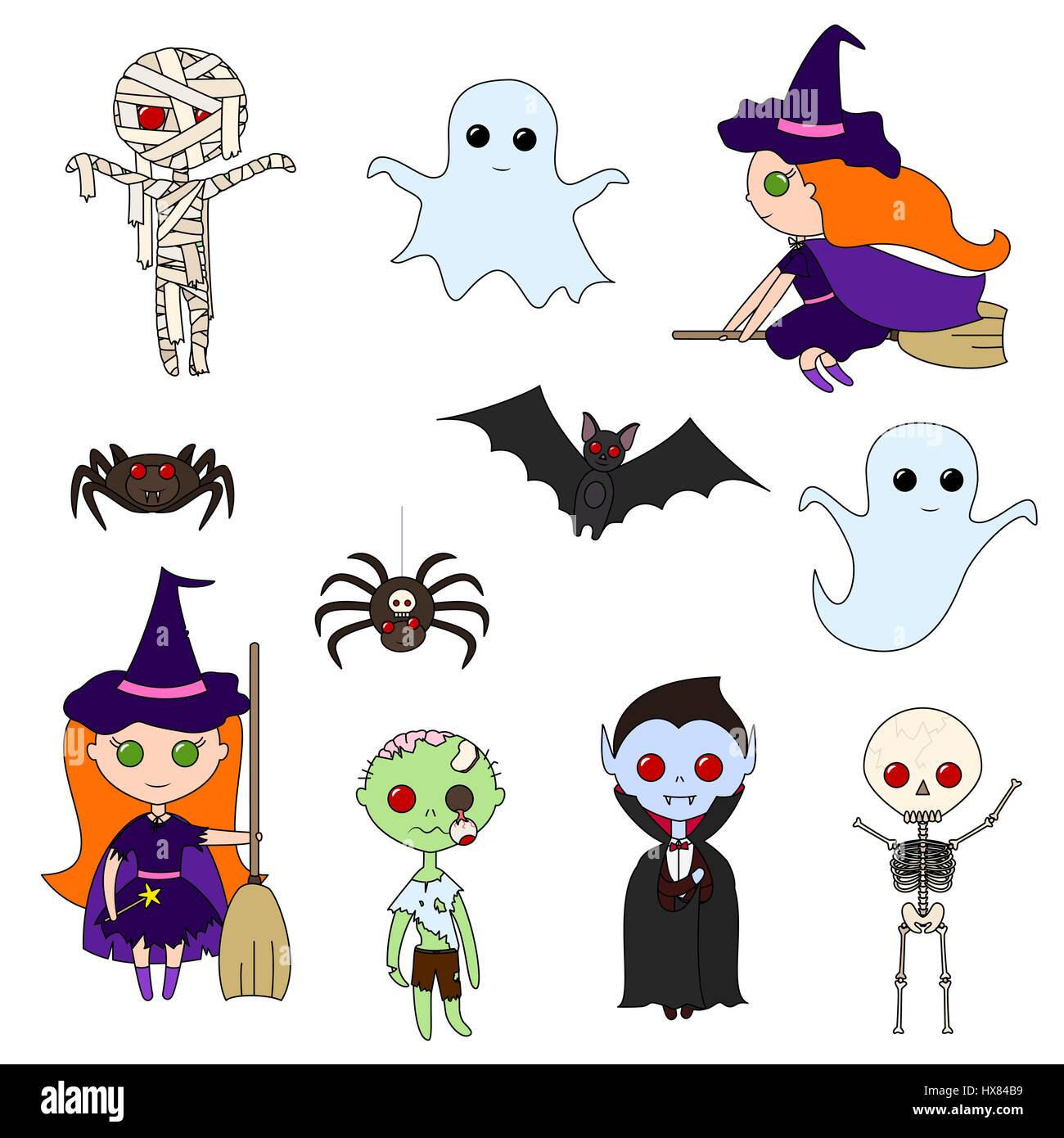 Set of cute Halloween characters on a white background. Various ...