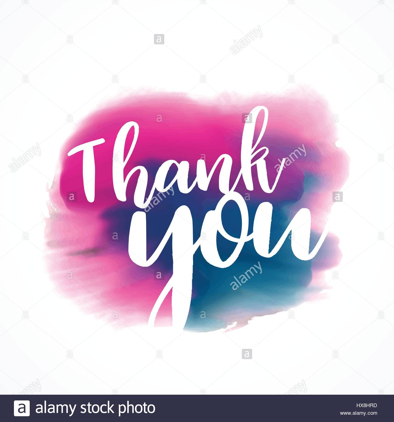 Expression Of Words Written In Ink: Thank You Written On Hand Painted Red And Blue Ink Stroke