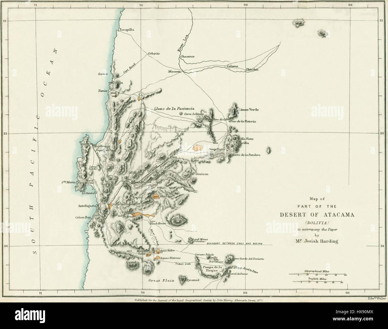 Map Antofagasta Region 1877 Stock Photo Royalty Free Image