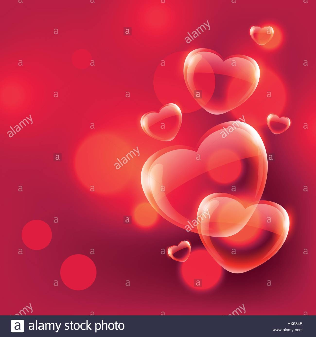 beautiful love hearts bubbles floating in air on red bokeh ...