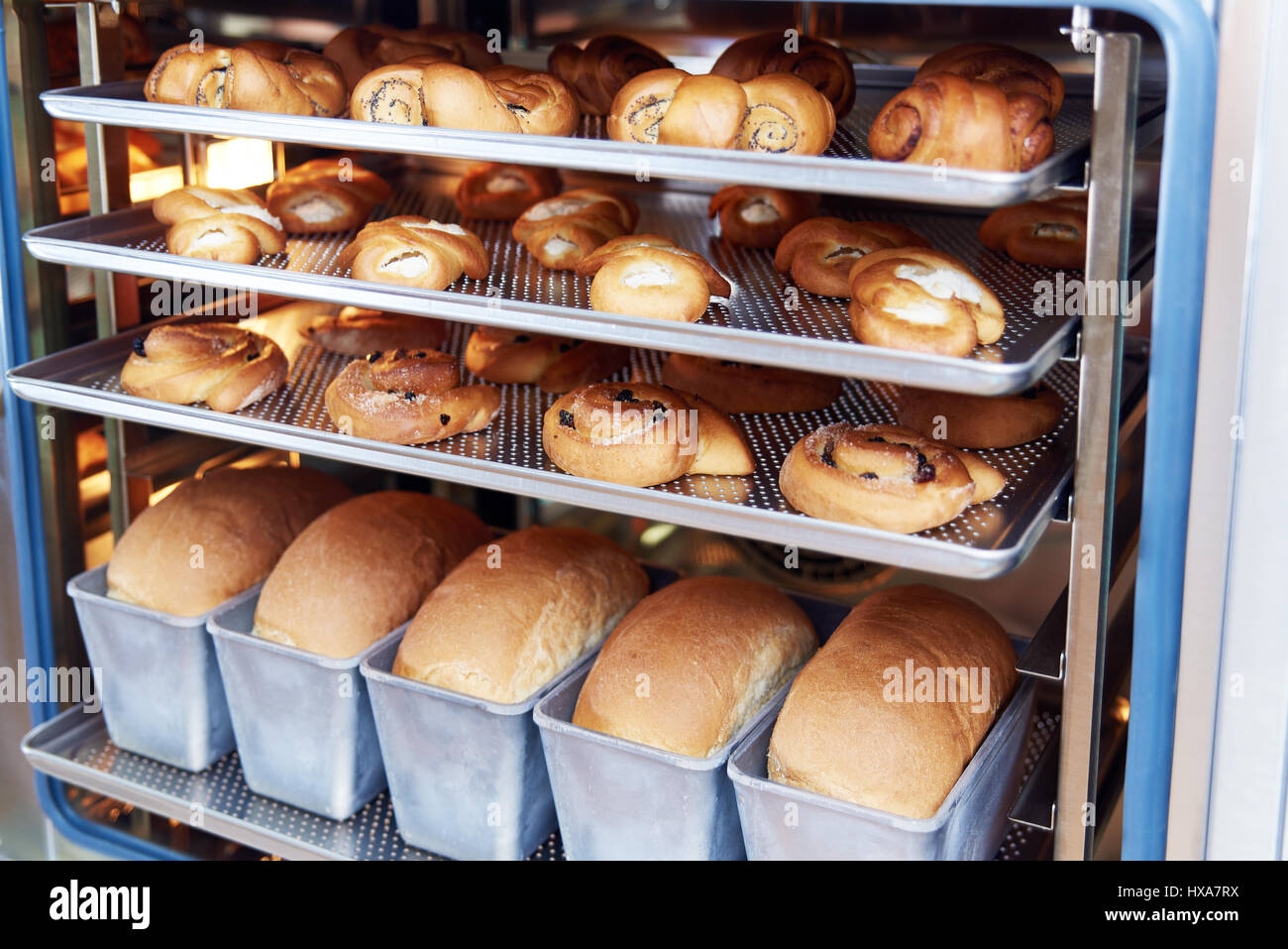 Dessert Bread Baking In Combi Steamer Production Oven At