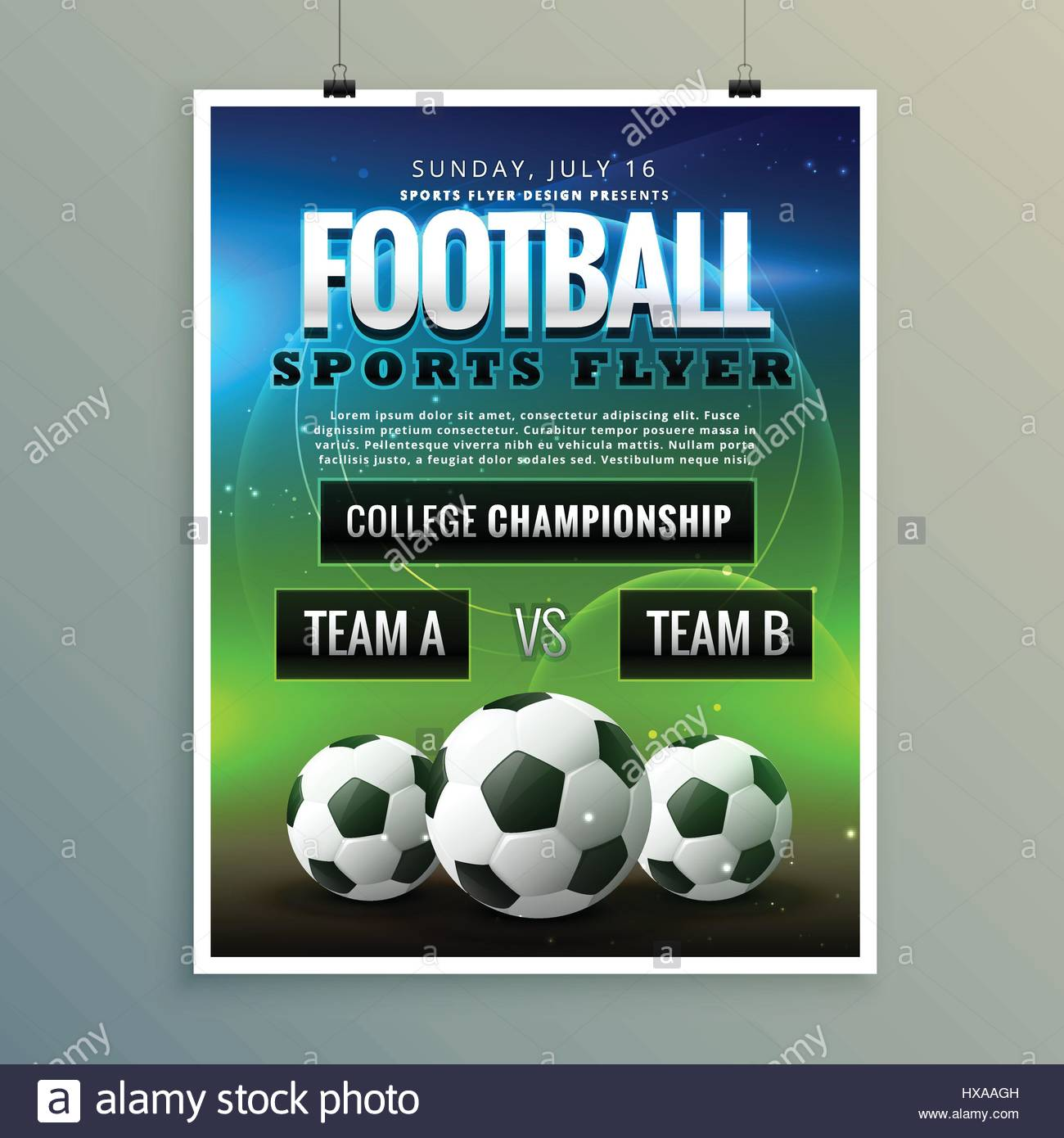 soccer football poster flyer template Vector Art – Competition Flyer Template
