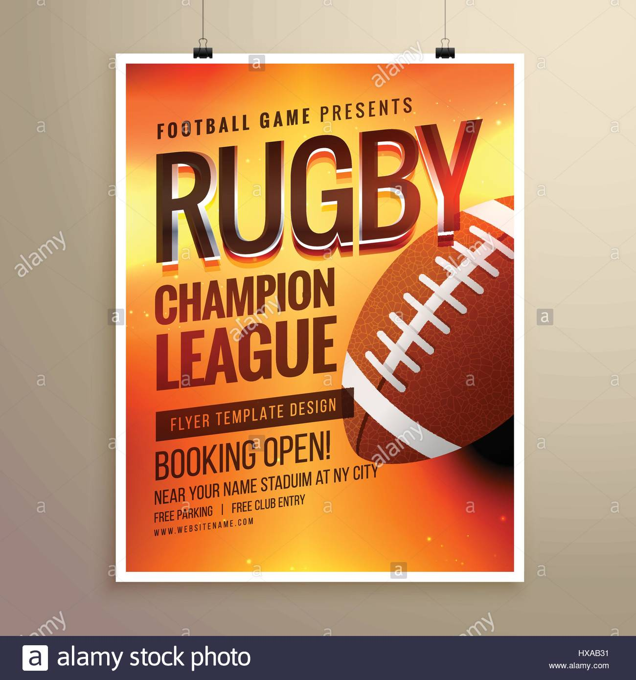 Poster design near me - Stock Vector Amazing Vector Rugby Flyer Poster Design Template With Event Details