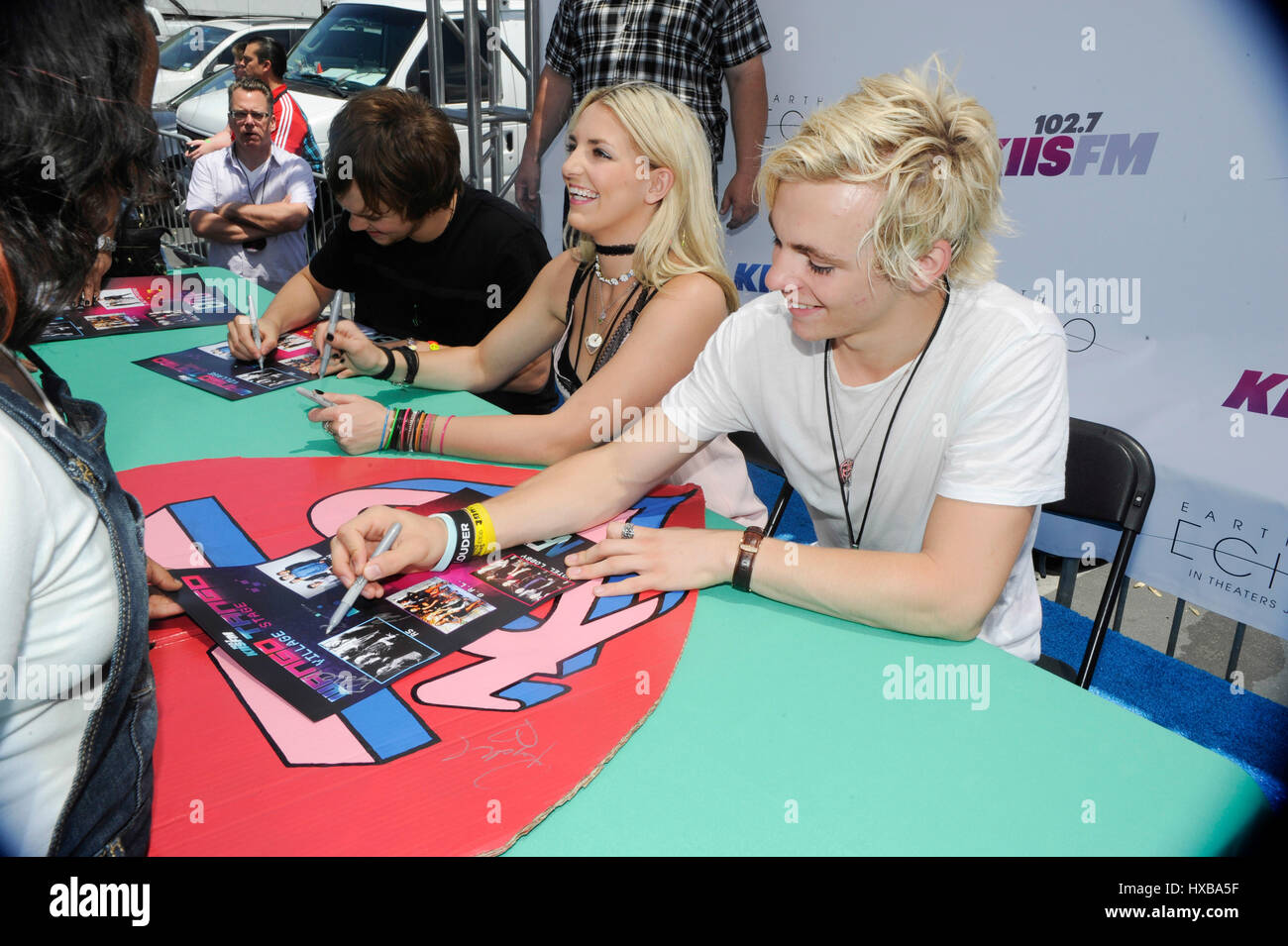 Ross lynch and rydel lynch of r5 autograph signing booth for fans ross lynch and rydel lynch of r5 autograph signing booth for fans during 1027 kiis fms 2014 wango tango at stubhub center on may 10 2014 in los angeles kristyandbryce Gallery