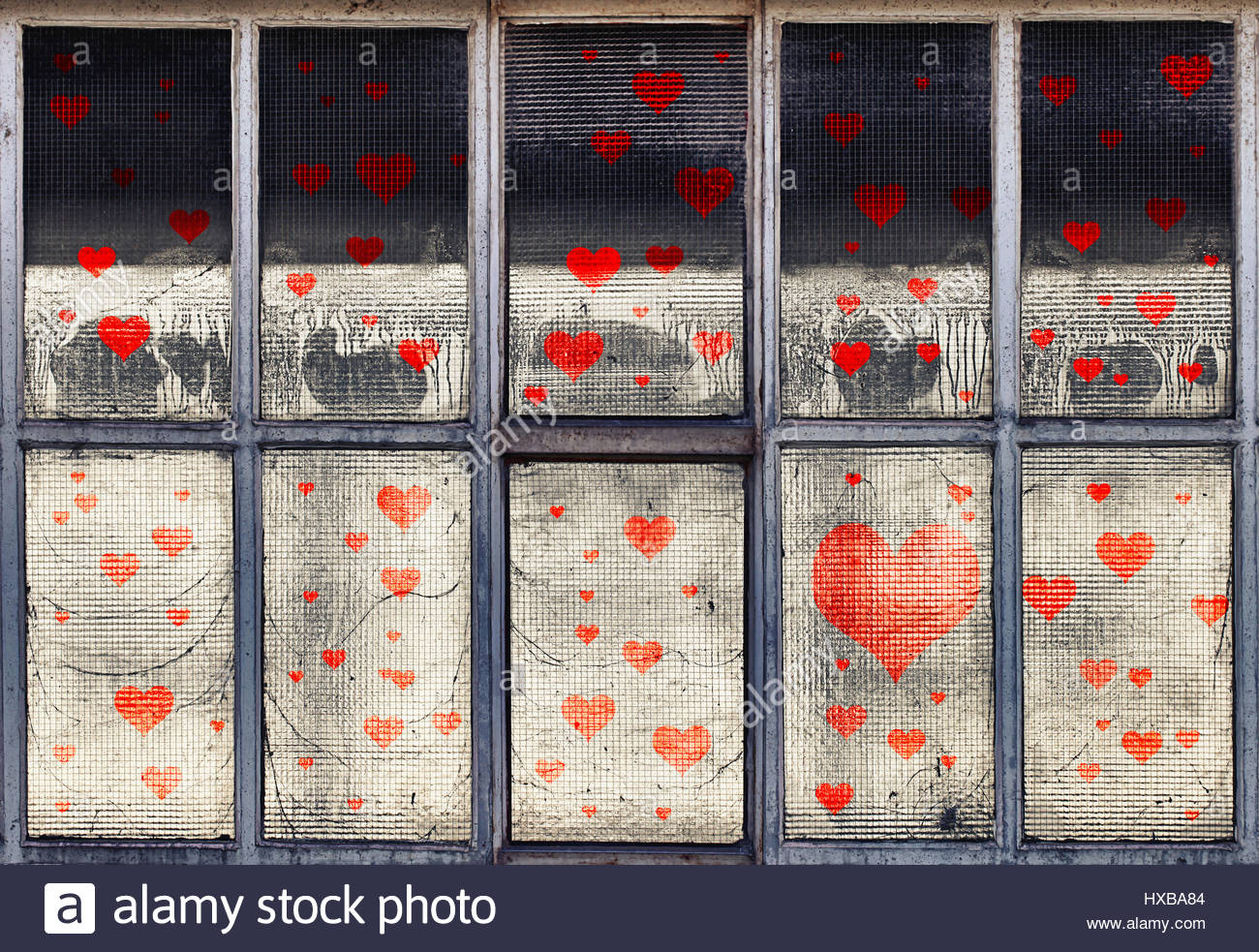 Old broken glass windows with illustrated red hearts symbols stock old broken glass windows with illustrated red hearts symbols biocorpaavc
