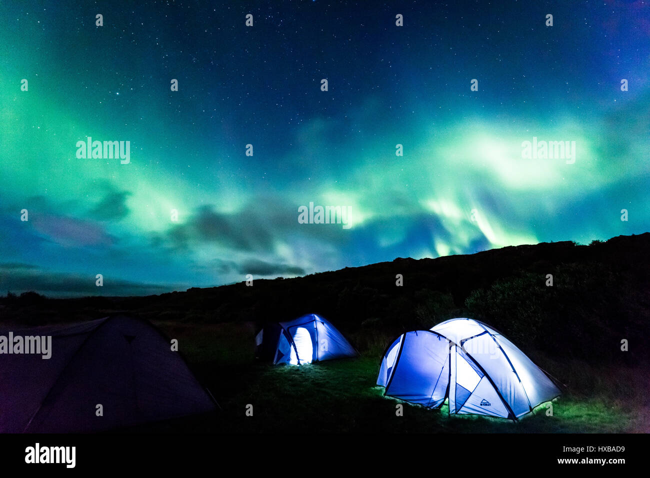 Illuminated tent and aurora in Iceland & Illuminated tent and aurora in Iceland Stock Photo Royalty Free ...