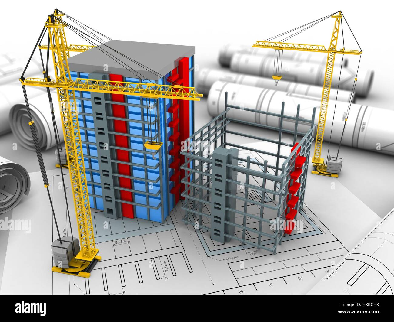 3d illustration of crane and building construction over for Construction 3d