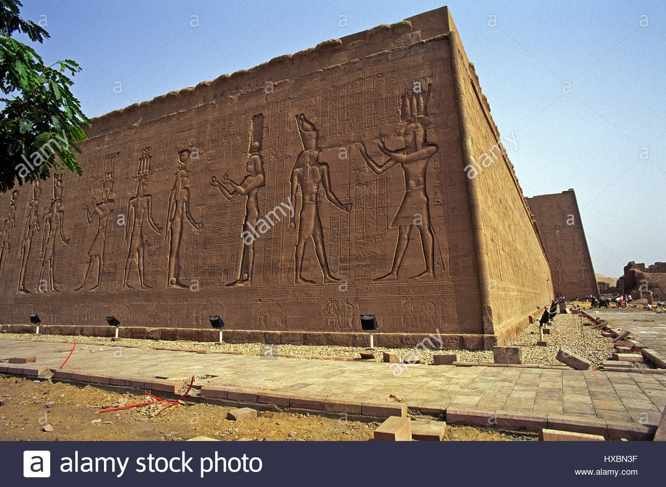Edfu Temple Egypt exterior North East face wall construction ...