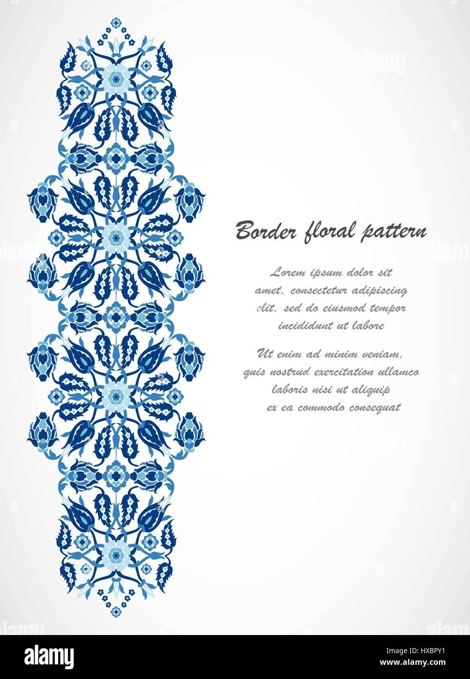 Arabesque vintage ornate border damask floral decoration print for ...