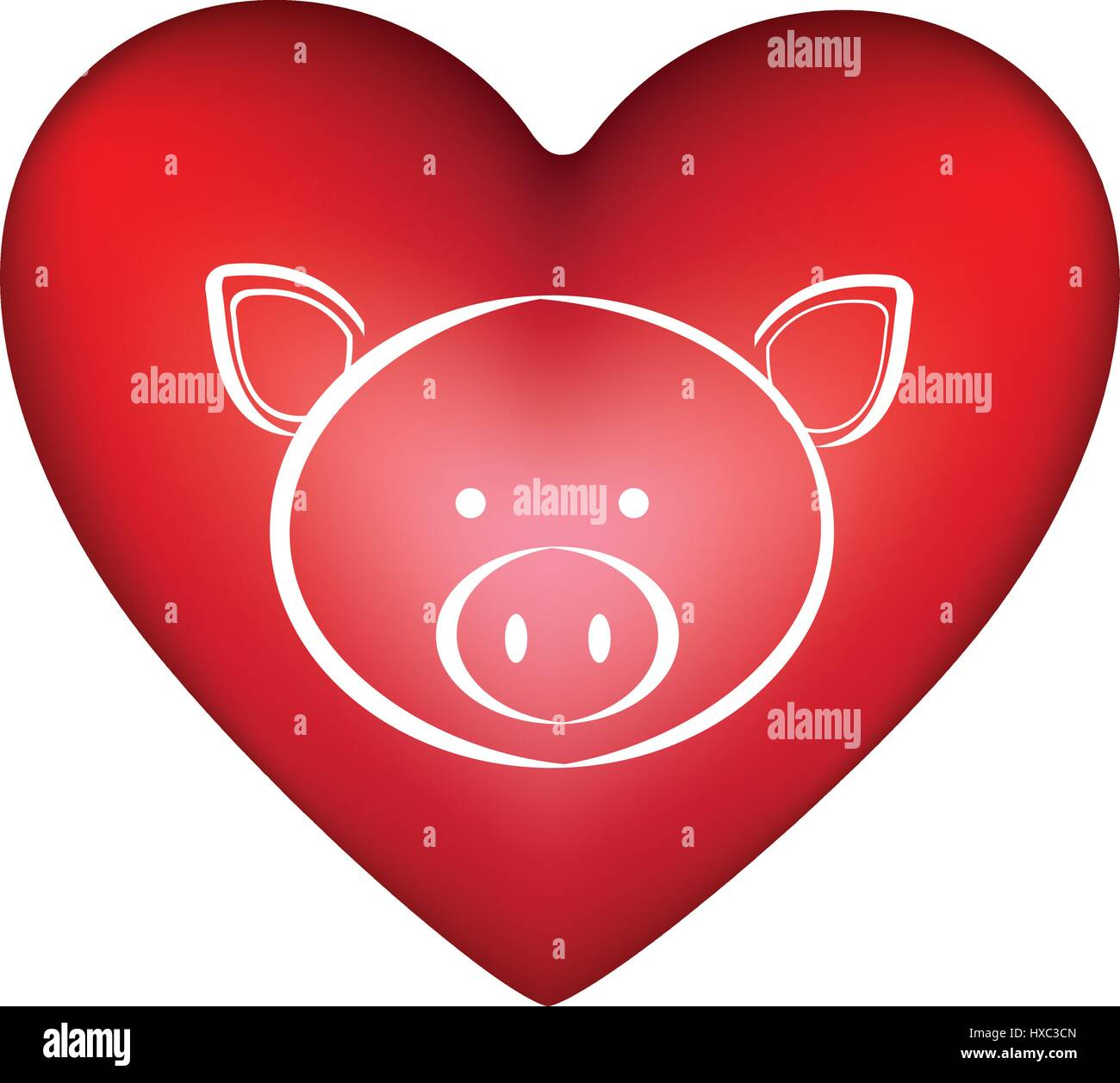 Red Heart Shape With Silhouette Face Cute Pig Animal