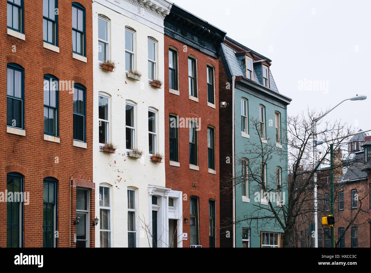 Brick Row Houses In Mount Vernon, Baltimore, Maryland