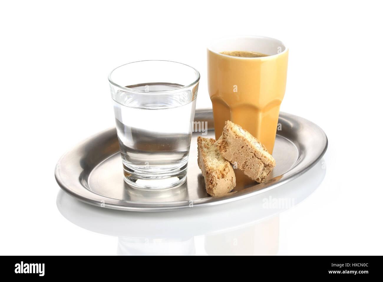 Espresso With Water Glass On A Tray Espresso Mit Wasserglas Auf Einem  Tablett.