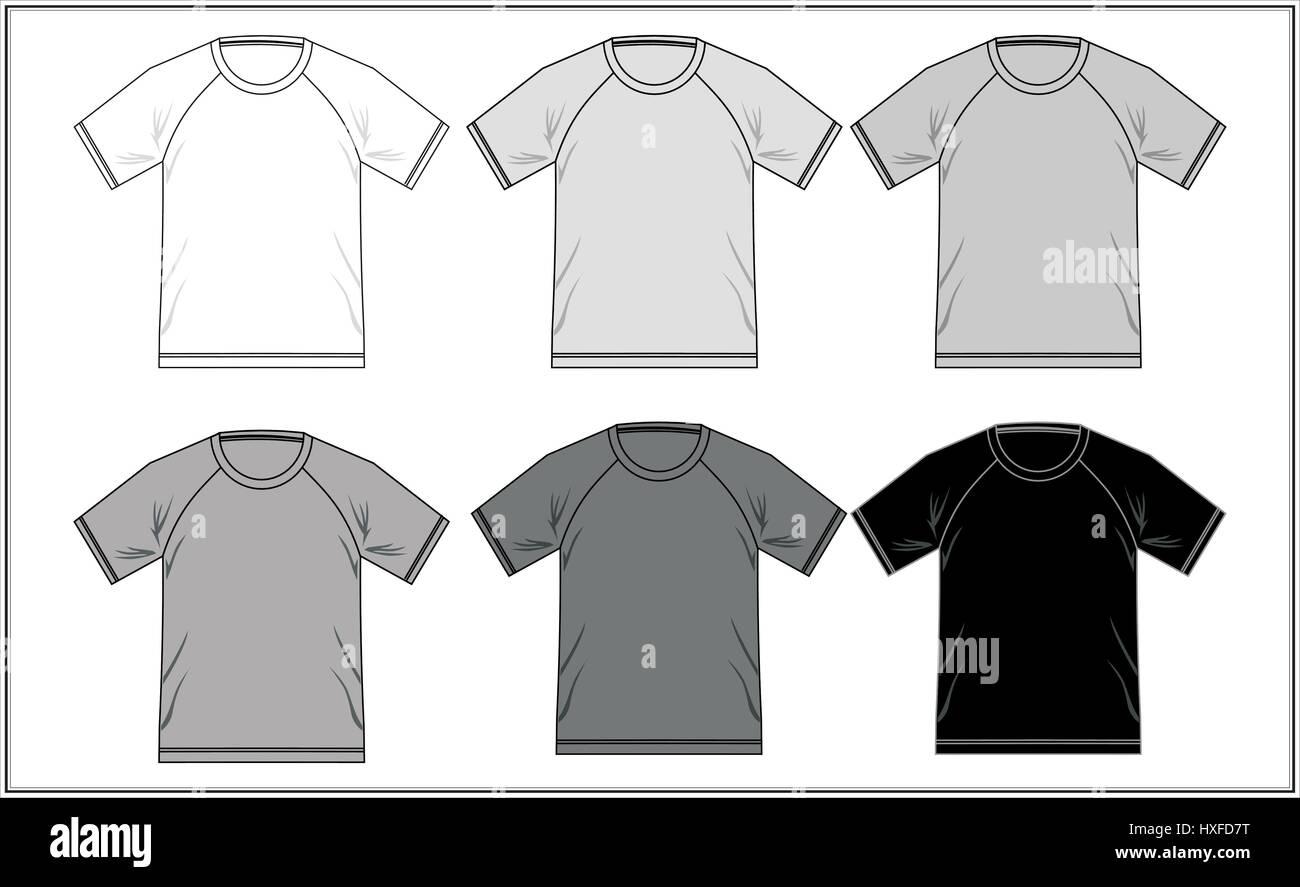 Black t shirt template vector - Stock Vector T Shirt Template Raglan Black And White Vector