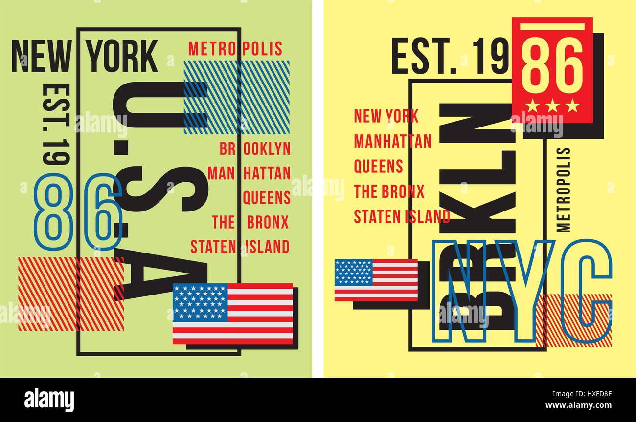 T shirt design queens ny - Set Retro New York Usa Typography For Poster T Shirt Vector