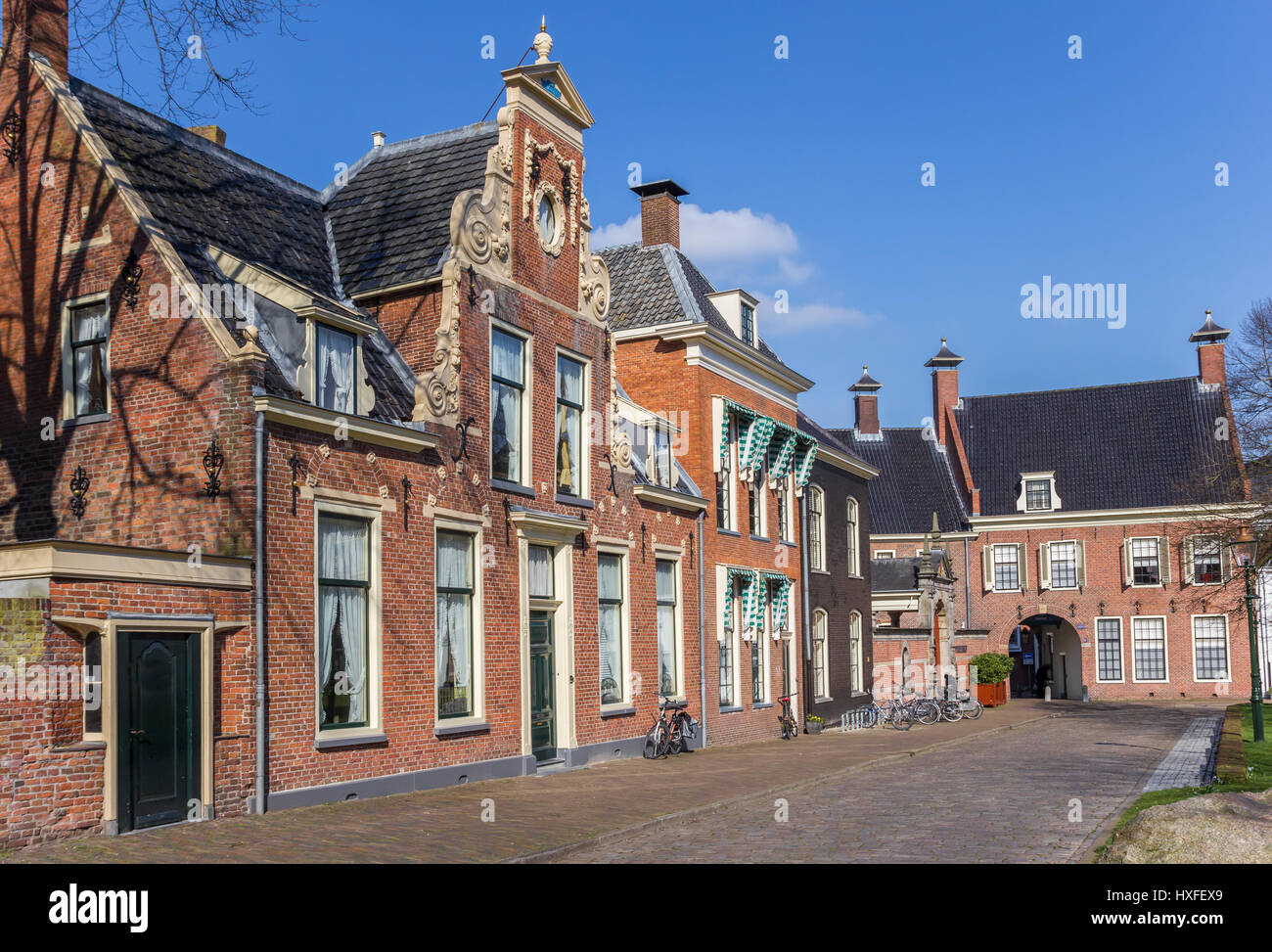 street with old houses in the historical center of groningen stock photo royalty free image. Black Bedroom Furniture Sets. Home Design Ideas