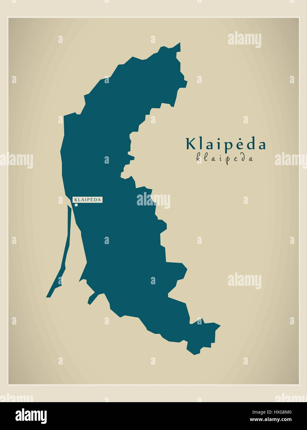 Modern Map Klaipeda LT Stock Vector Art Illustration Vector - Klaipėda map