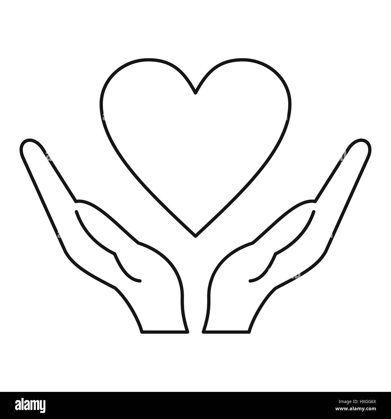 hands holding heart icon outline style stock vector art