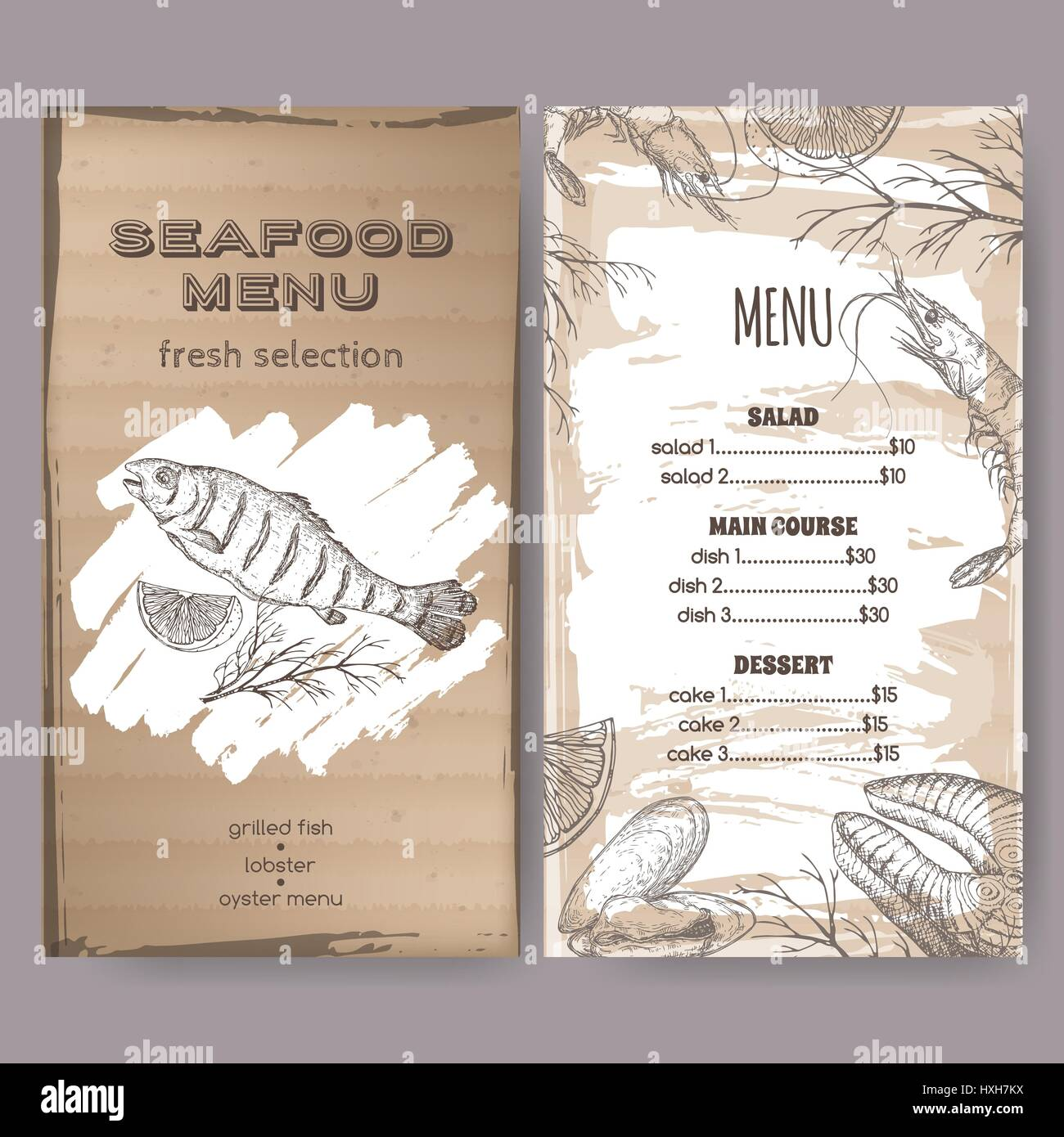 Seafood restaurant menu template with sketch of grilled for Fish 101 menu