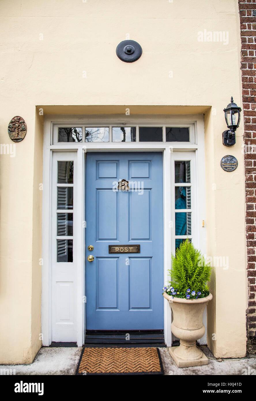 Vintage light blue door with a front door knocker and letter slot vintage light blue door with a front door knocker and letter slot charleston south carolina usa rubansaba